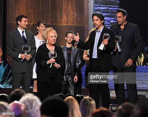 The cast and creators of 'Everybody Loves Raymond' including Philip Rosenthal Doris Roberts Brad Garrett Madylin Sweeten Sawyer Sweeten and Ray...