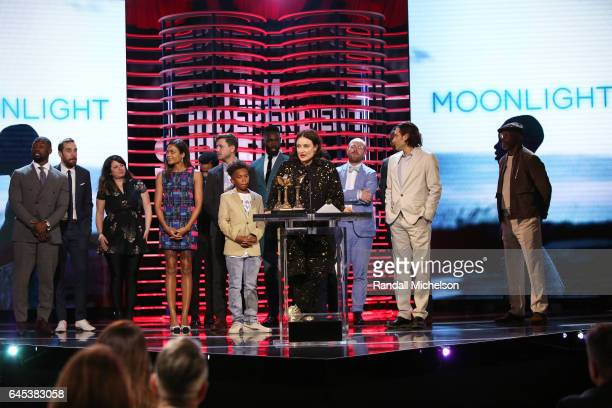 The cast and creators of 'Moonlight' accept the Best Feature award onstage during the 2017 Film Independent Spirit Awards at the Santa Monica Pier on...