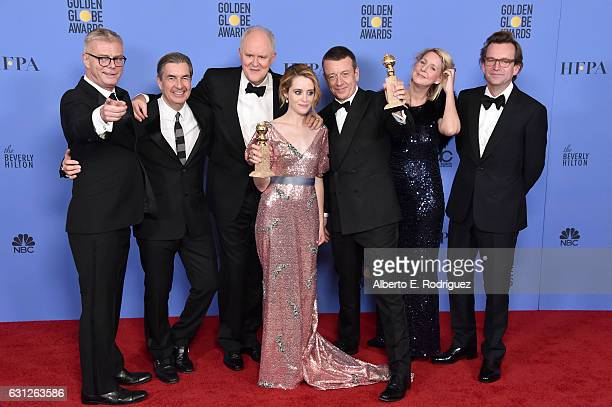 The cast and creators of 'The Crown' pose with the Best Performance by an Actress in a Television Series Drama and Best Television Series Drama...