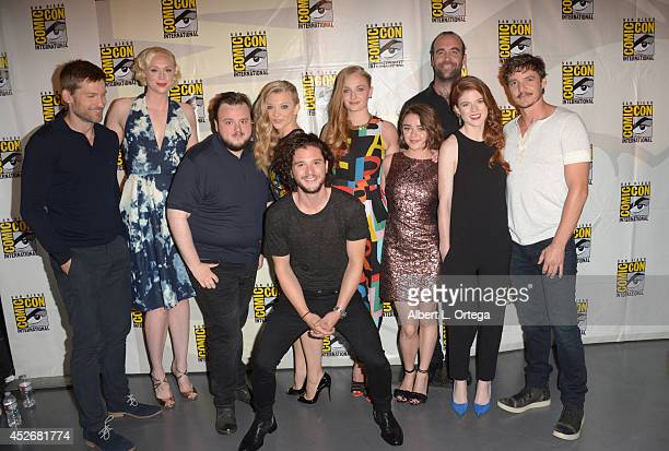 The cast and crew attend HBO's 'Game Of Thrones' panel and QA during ComicCon International 2014 at San Diego Convention Center on July 25 2014 in...