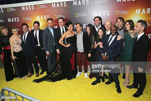The cast and crew attends the National Geographic Channel 'MARS' Premiere NYC on October 26 2016 in New York City