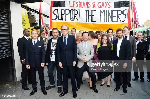 The cast and crew Freddie Fox Paddy Considine Bill Nighy Andrew Scott Jessica Gunning and Chris Overton attend a photocall for 'Pride' at Odeon...