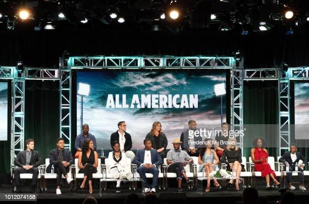 The cast and crew from All American speak onstage at the CW Network portion of the Summer 2018 TCA Press Tour at The Beverly Hilton Hotel on August 6...