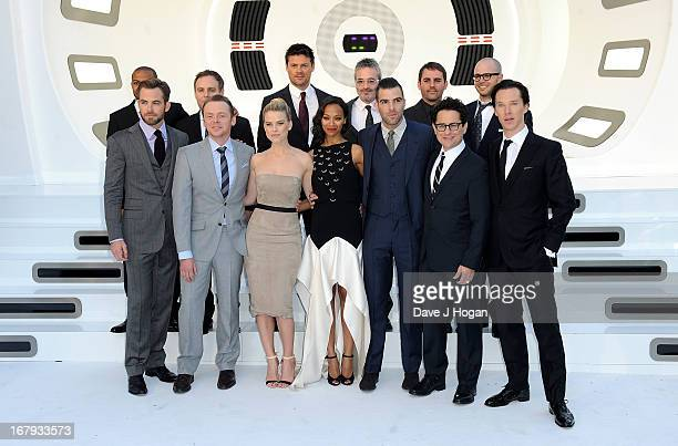 The cast and crew including Actors Noel Clarke Chris Pine Simon Pegg Alice Eve Karl Urban Zoe Saldana Zachary Quinto director JJ Abrams and actor...