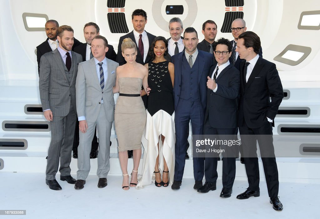 The cast and crew including (L-R) Actors Noel Clarke, Chris Pine, Simon Pegg, Alice Eve, Karl Urban, Zoe Saldana, Zachary Quinto, director JJ Abrams and actor Benedict Cumberbatch attend the 'Star Trek Into Darkness' UK Premiere at the Empire Leicester Square on May 2, 2013 in London, England.