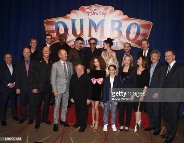 The cast and crew including Colin Farrell Tim Burton Eva Green Michael Keaton and Danny DeVito attend the premiere of Disney's 'Dumbo' at El Capitan...