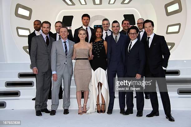 The cast and crew Noel Clarke, Chris Price, Simon Pegg, Alice Eve, Zoe Saldana, Zachary Quinto, J.J. Abrams attend the UK Premiere of 'Star Trek Into...