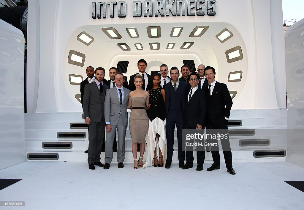 The cast and crew Noel Clarke, Chris Price, Simon Pegg, Alice Eve, Zoe Saldana, Zachary Quinto, J.J. Abrams attend the UK Premiere of 'Star Trek Into Darkness' at The Empire Cinema on May 2, 2013 in London, England.