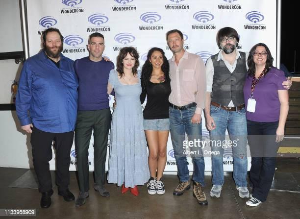 The cast and crew of AMC's 'NOS4A2 ' Olafur Darri Olafsson, Zachary Quinto, Ashleigh Cummings, Jahkara Smith, Ebon Moss-Bachrach, and Joe Hill pose...