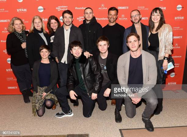 The cast and crew of American Animals attends the American Animals Premiere during the 2018 Sundance Film Festival at Eccles Center Theatre on...