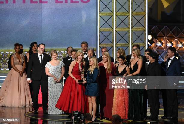 The cast and crew of 'Big Little Lies' accept the Outstanding Limited Series award onstage during the 69th Annual Primetime Emmy Awards at Microsoft...