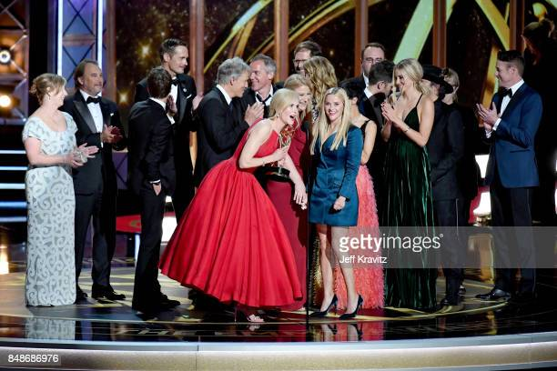 The cast and crew of Big Little Lies accepts the Outstanding Limited Series award onstage during the 69th Annual Primetime Emmy Awards at Microsoft...