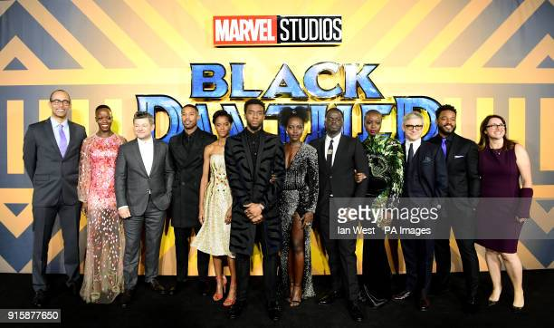 The cast and crew of Black Panther attending The Black Panther European Premiere at The Eventim Apollo Hammersmith London