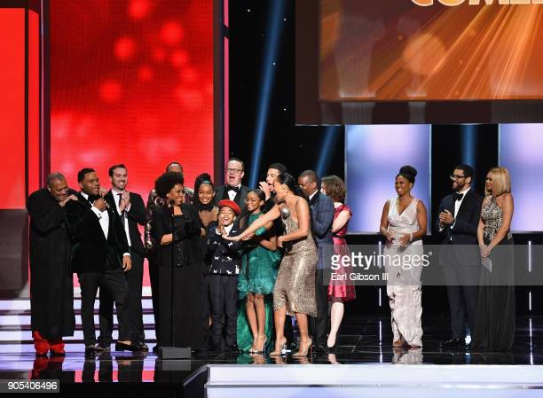 The cast and crew of blackish accept the Outstanding Comedy Series award onstage at the 49th NAACP Image Awards on January 15 2018 in Pasadena...