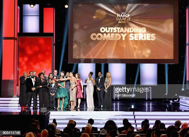 The cast and crew of 'blackish' accept the Outstanding Comedy Series award onstage at the 49th NAACP Image Awards on January 15 2018 in Pasadena...
