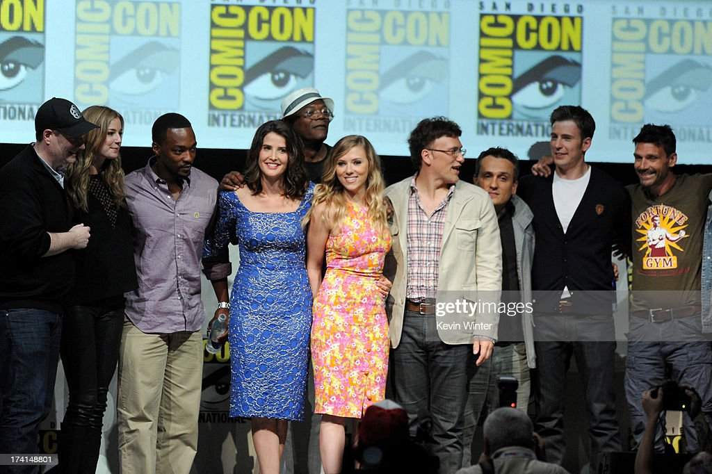 The cast and crew of 'Captain America: The Winter Soldier' speaks onstage during Comic-Con International 2013 at San Diego Convention Center on July 20, 2013 in San Diego, California.