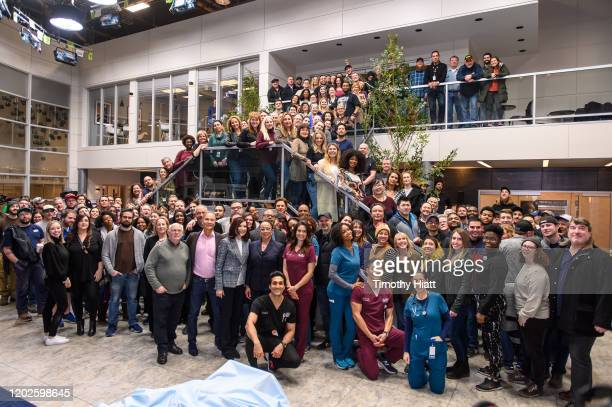 """The cast and crew of """"Chicago Med"""" attend the """"Chicago Med"""" 100th Episode Cake Cutting at Cinespace on January 28, 2020 in Chicago, Illinois."""