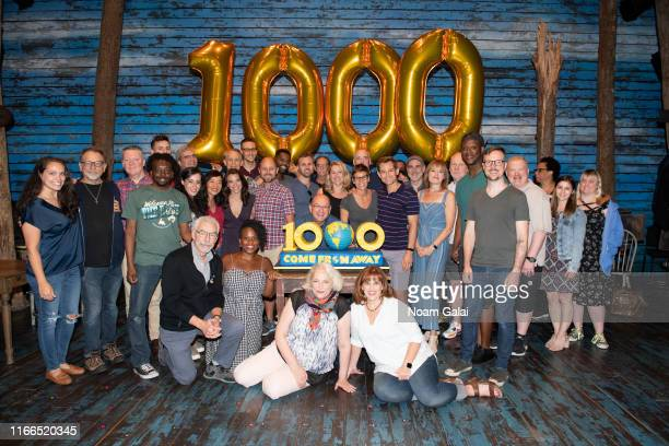 The cast and crew of Come From Away celebrate 1000 Broadway performances at The Schoenfeld Theatre on August 06 2019 in New York City