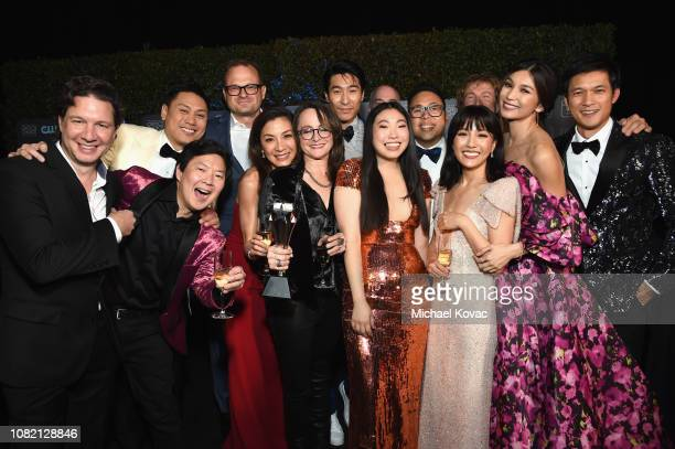 The cast and crew of Crazy Rich Asians winners of Best Comedy Movie attend the 24th annual Critics' Choice Awards at Barker Hangar on January 13 2019...