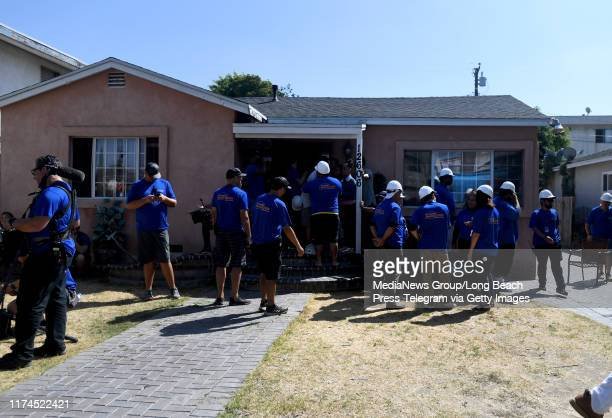 The cast and crew of Extreme Makeover Home Edition at the Fifita family home in Hawthorne on Thursday September 12 2019 This will be one of the first...
