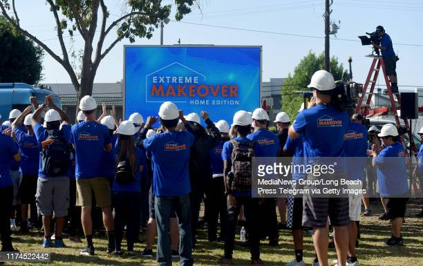 The cast and crew of Extreme Makeover Home Edition preparing to surprise the Fifita family in Hawthorne on Thursday September 12 2019 This will be...