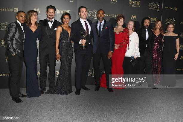 The cast and crew of 'General Hospital' pose in the Press Room during the 44th Annual Daytime Emmy Awards at Pasadena Civic Auditorium on April 30...