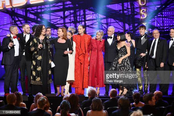 The cast and crew of Hadestown accept the award for Best Musical onstage during the 2019 Tony Awards at Radio City Music Hall on June 9 2019 in New...