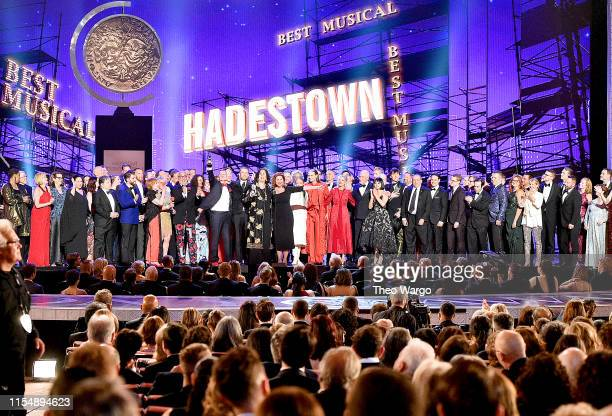 The cast and crew of Hadestown accept the award for Best Musical onstage during the 2019 Tony Awards at Radio City Music Hall on June 9, 2019 in New...