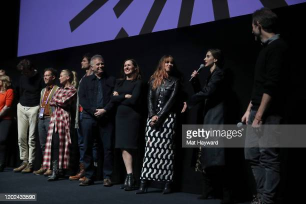 The cast and crew of Horse Girl speaks onstage during the Netflix Horse Girl Premiere at The Ray on January 27 2020 in Park City Utah