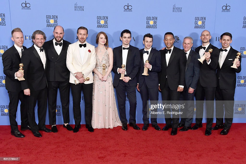 The cast and crew of 'La La Land,' winners of Best Motion Picture - Musical or Comedy, pose in the press room during the 74th Annual Golden Globe Awards at The Beverly Hilton Hotel on January 8, 2017 in Beverly Hills, California.