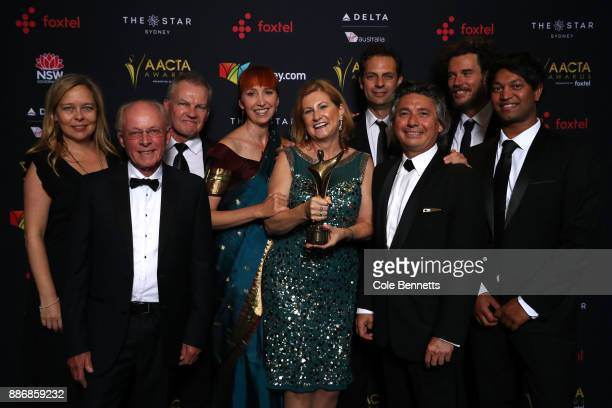 The cast and crew of Lion pose with an AACTA Award for Best Film Presented By Foxtel during the 7th AACTA Awards Presented by Foxtel | Ceremony at...