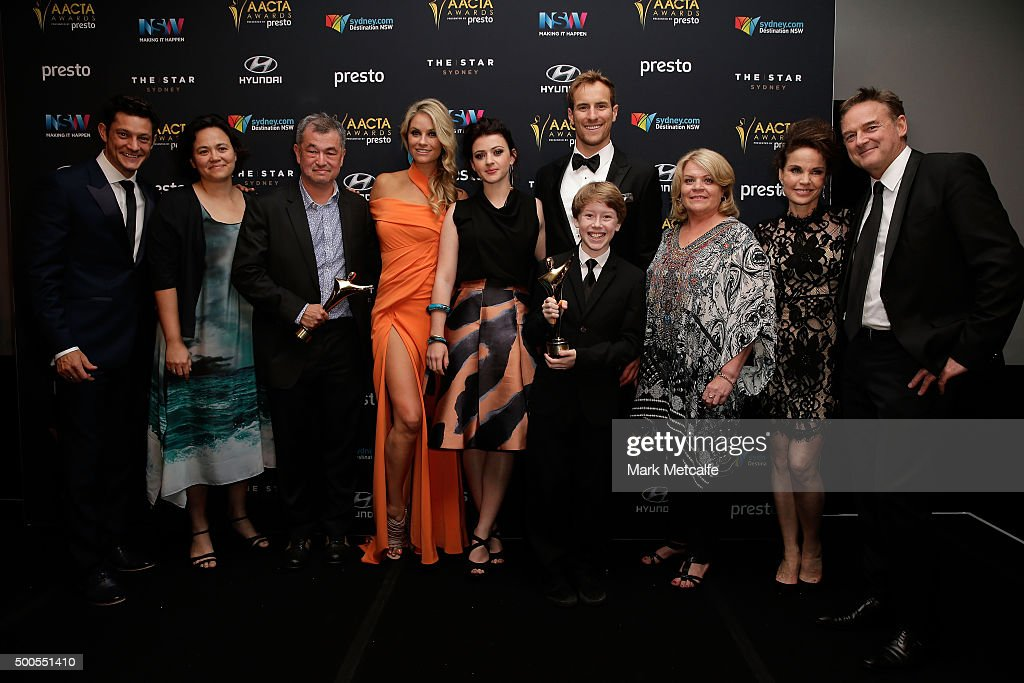 The cast and crew of 'Peter Allen: Not the Boy Next Door' pose with the AACTA Award for Best Telefeature or Mini Series during the 5th AACTA Awards Presented by Presto at The Star on December 9, 2015 in Sydney, Australia.
