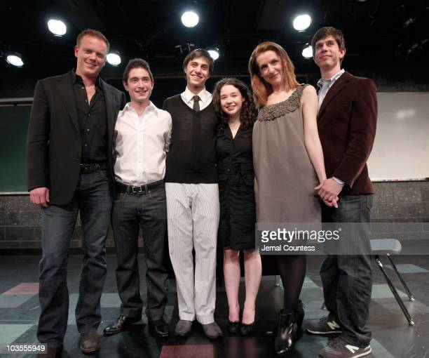 The cast and crew of Speech Debate Director Jason Moore Actor Jason Fuchs Playwright Stephen Karam Sarah Steele Susan Blackwell and Actor Gideon...