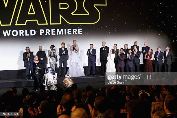 "The cast and crew of Star Wars onstage at the World Premiere of ""Star Wars The Force Awakens"" at the Dolby El Capitan and TCL Theatres on December 14..."
