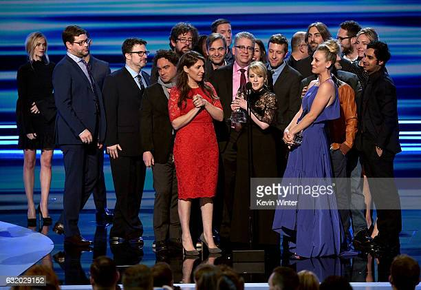 The cast and crew of The Big Bang Theory accept the Favorite Network TV Comedy award onstage during the People's Choice Awards 2017 at Microsoft...