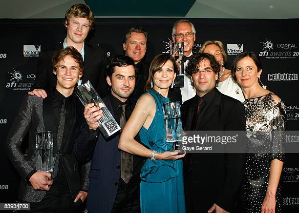 The cast and crew of 'The Black Balloon' actor Luke Ford actor Erik Thomson producer Tristram Miall unidentified actor Rhys Wakefield Jimmy the...