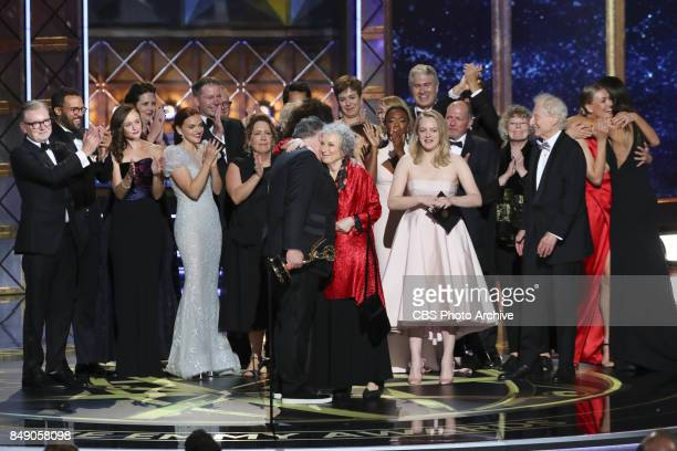 The cast and crew of THE HANDMAID'S TALE accepts the Emmy Award for Outstanding Drama Series at the 69TH PRIMETIME EMMY AWARDS, LIVE from the...