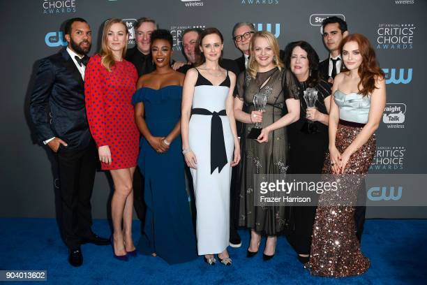 The Cast and Crew of 'The Handmaid's Tale' recipients of the Best Drama Series award pose in the press room during The 23rd Annual Critics' Choice...