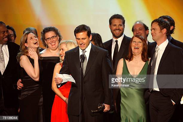 """The cast and crew of """"The Office"""" accept the Outstanding Ensemble in a Comedy Series award onstage at the 13th Annual Screen Actor Guild Awards held..."""