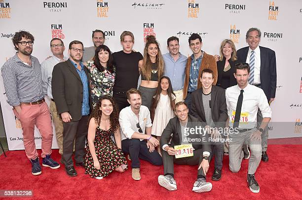 The cast and crew of Tracktown attends the premiere of 'Tracktown' during the 2016 Los Angeles Film Festival at Arclight Cinemas Culver City on June...