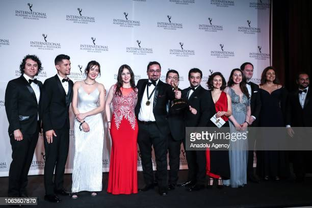 The cast and crew of 'Una Histora ' give a pose with their award during the 46th International Emmy Awards at New York Hilton on November 19 2018 in...