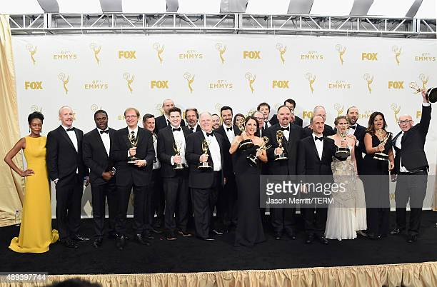 "The cast and crew of ""Veep"", winners of Outstanding Comedy Series, pose in the press room at the 67th Annual Primetime Emmy Awards at Microsoft..."