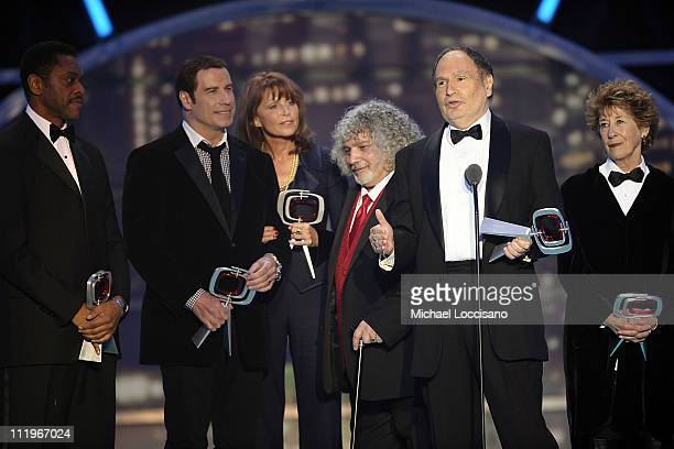 The cast and crew of Welcome Back Kotter Lawrence HiltonJacobs John Travolta Marcia Strassman Robert Hegyes Gabe Kaplan and Ellen Travolta accept the...