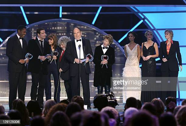 The cast and crew of Welcome Back Kotter Lawrence HiltonJacobs Marcia Strassman Robert Hegyes John Travolta Ellen Travolta and Gabe Kaplan accept the...