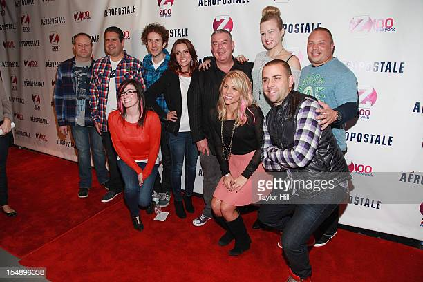 The cast and crew of Z100's Elvis Duran and the Morning Show attend the 2012 Z100 Jingle Ball Official Kick Off Party at Aeropostale Times Square on...