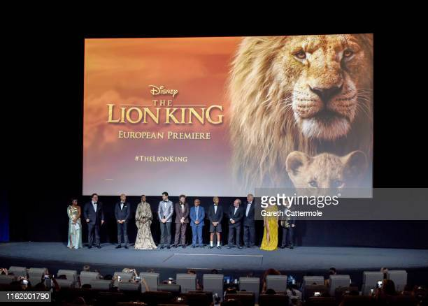 The cast and crew on stage at the European Premiere of Disney's The Lion King at Odeon Luxe Leicester Square on July 14 2019 in London England
