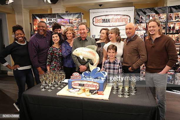 STANDING The cast and crew on the set of Last Man Standing celebrated the series' 100th episode entitled The Ring airing FRIDAY JANUARY 29 on the ABC...