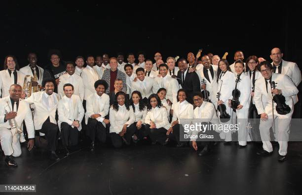 The cast and crew pose as the cast of Ain't Too Proud on Broadway celebrate 12 Tony Award Nominations backstage at The Imperial Theatre on April 30...