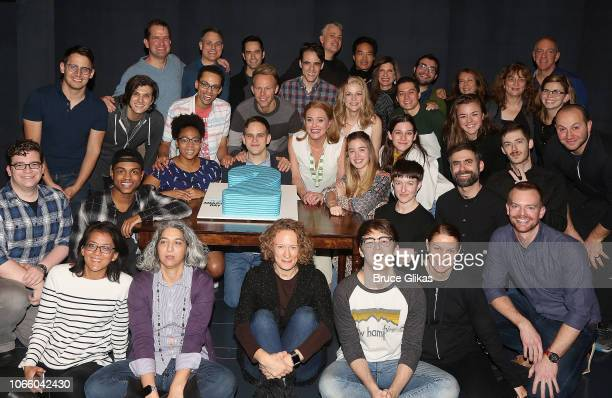 The cast and crew pose at the 2nd Anniversary and Smithsonion Museum Donation ceremony for Dear Evan Hansen on Broadway at The Music Box Theatre on...