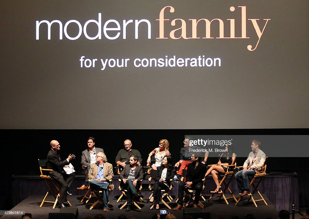 The cast and crew speak during the Q & A segment at the ATAS Screening of the 'Modern Family' Season Finale 'American Skyper' at the Fox Studio Lot on May 18, 2015 in Century City, California.